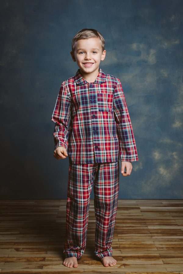 SAM RED-GREEN CHECKS BOYS PAJAMA SET