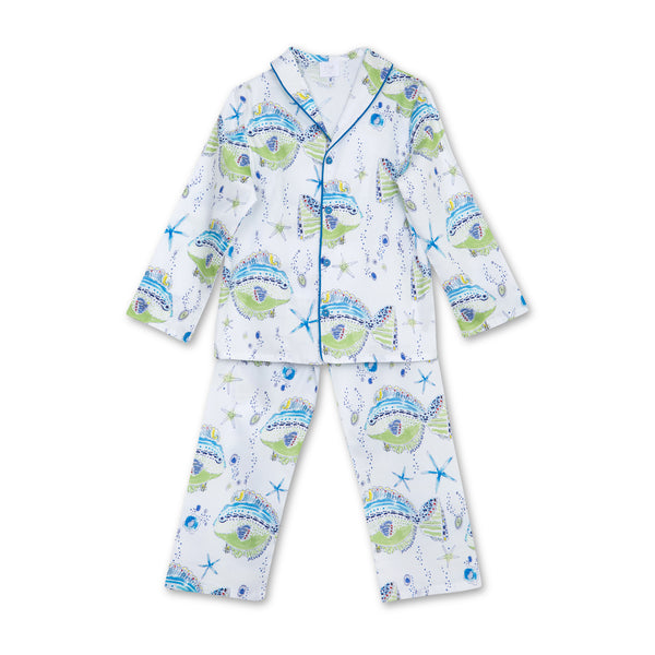 SAM BOYS' COTTON SATEEN PYJAMA SET SEA PRINT