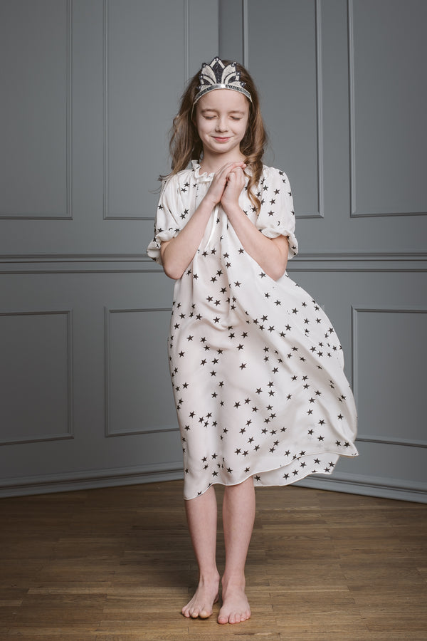 Girls' silk nightgown - Luxurious Antonia stars nightdress - silk nightwear