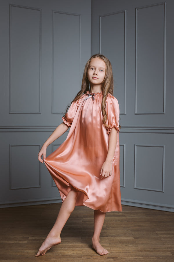 Antonia girls' silk nightdress - comfortable & skin friendly - antique style