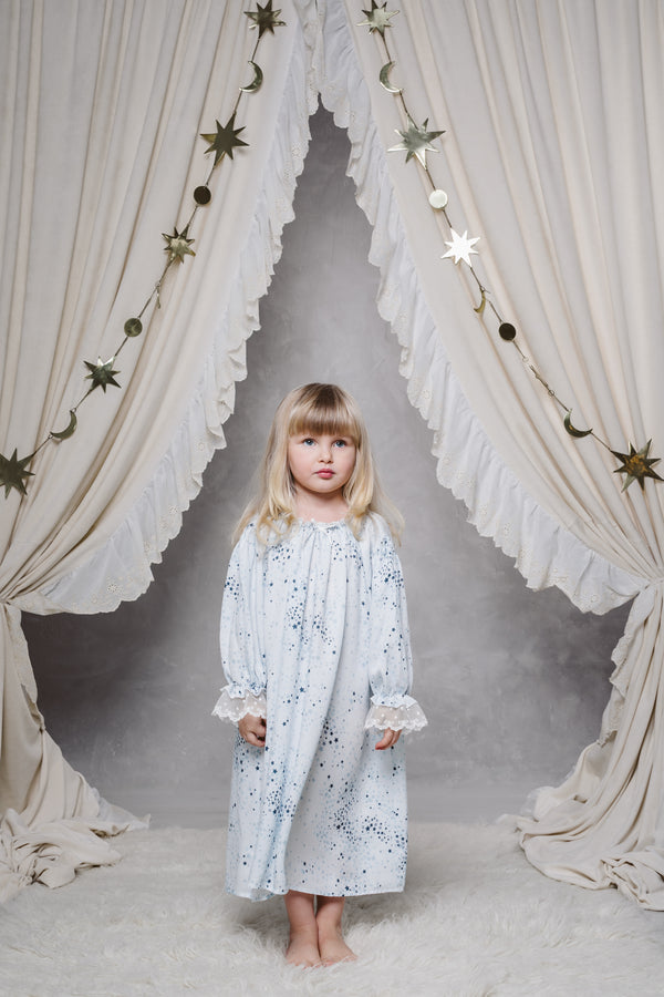 VICTORIA GIRLS' NIGHTDRESS IN BLUE STARS
