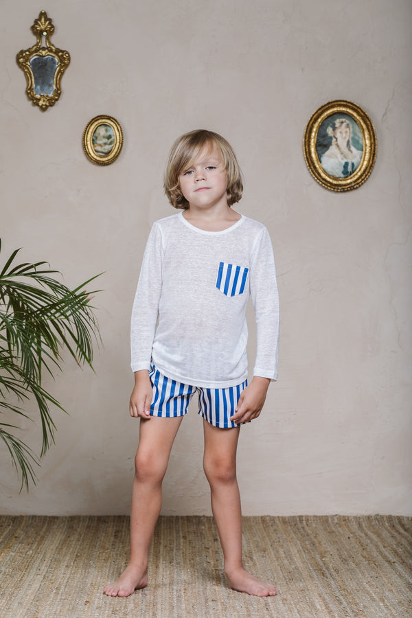 ZACK BOYS' LINEN PYJAMA SET STRIPES