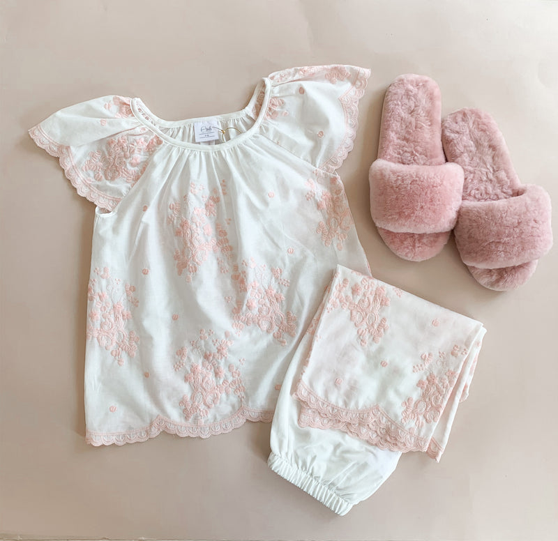 KELLY CHILDREN'S PAJAMA SET PINK EMBROIDERY
