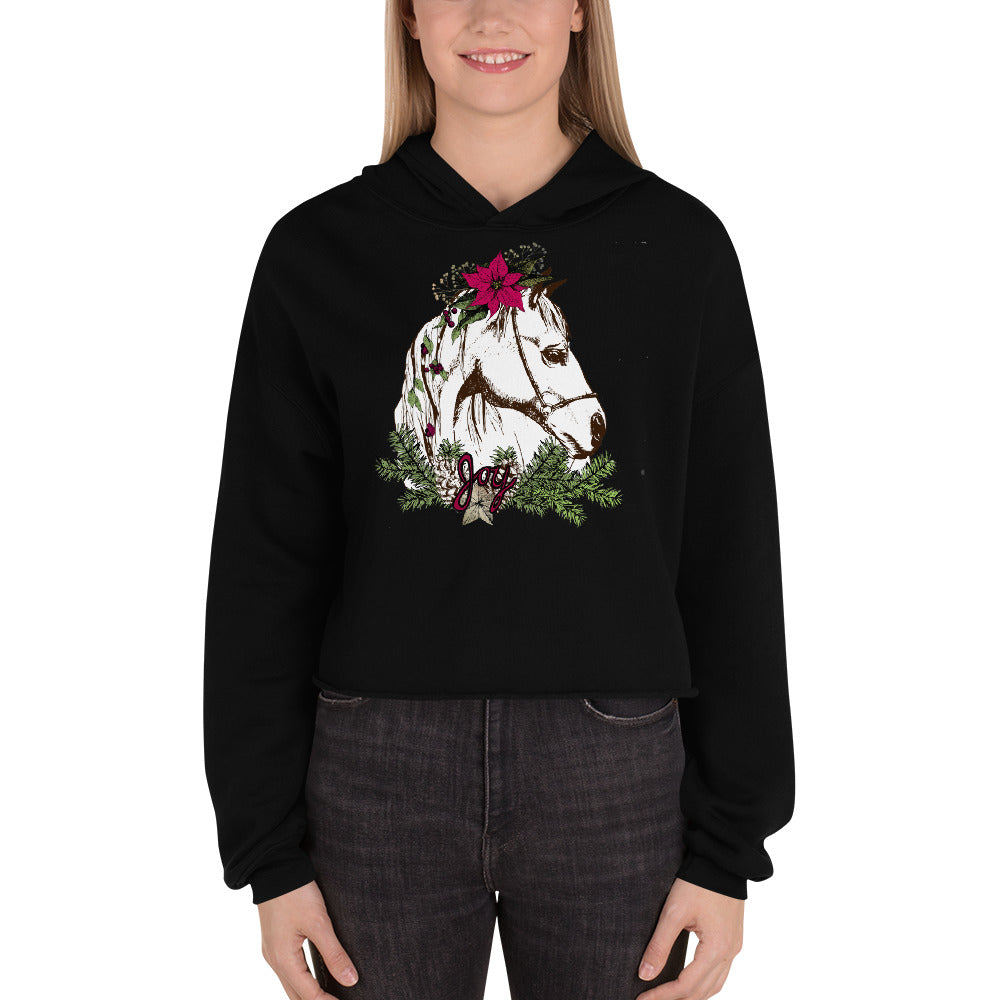 Holiday Horsey Crop Hoodie - Joy Holiday Fashion