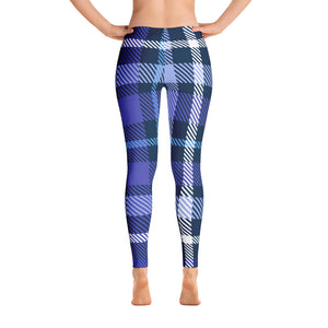 Plaid Blue Leggings - Joy Holiday Fashion