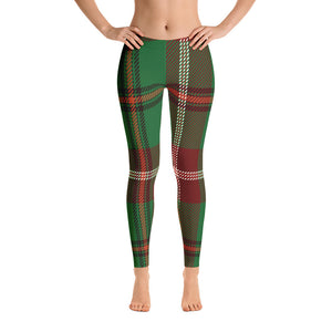 Plaid Christmas Green Leggings - Joy Holiday Fashion