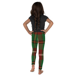 Plaid Christmas Green Youth Leggings - Joy Holiday Fashion