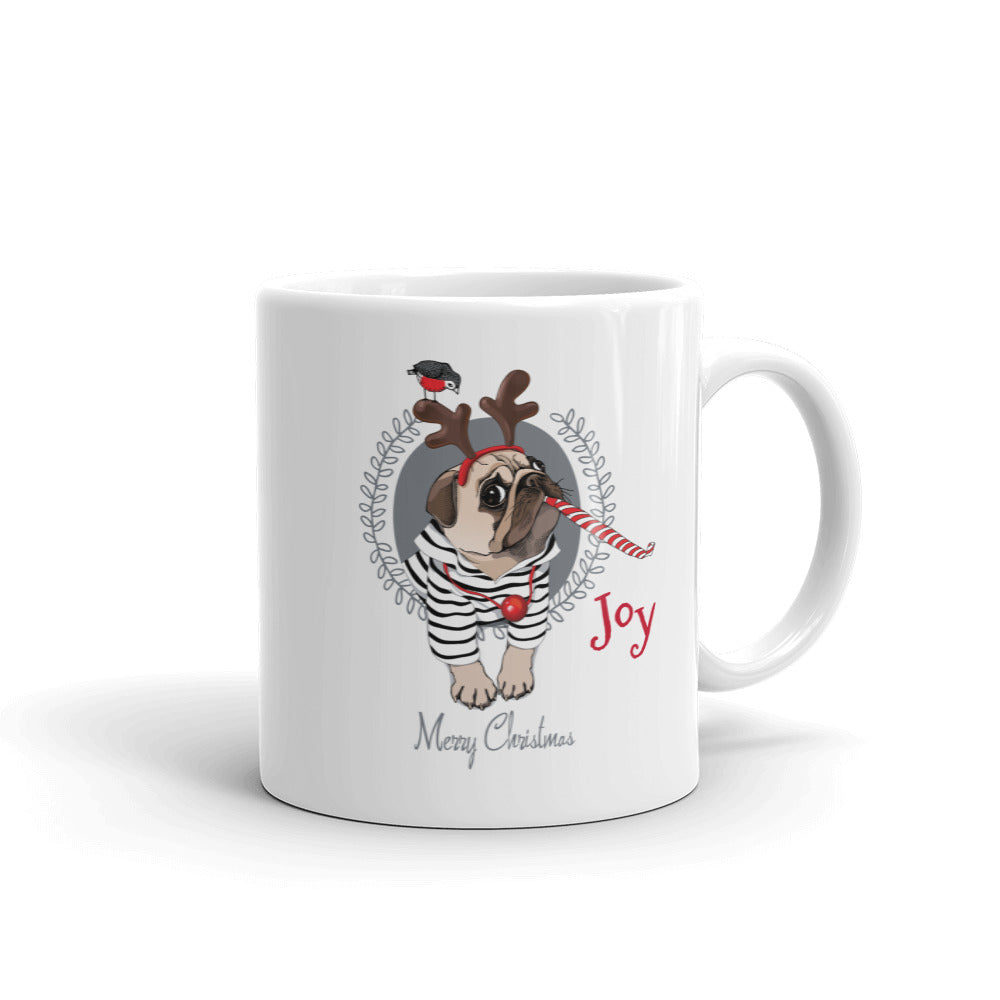 Candy Cane Pug Mug - Joy Holiday Fashion