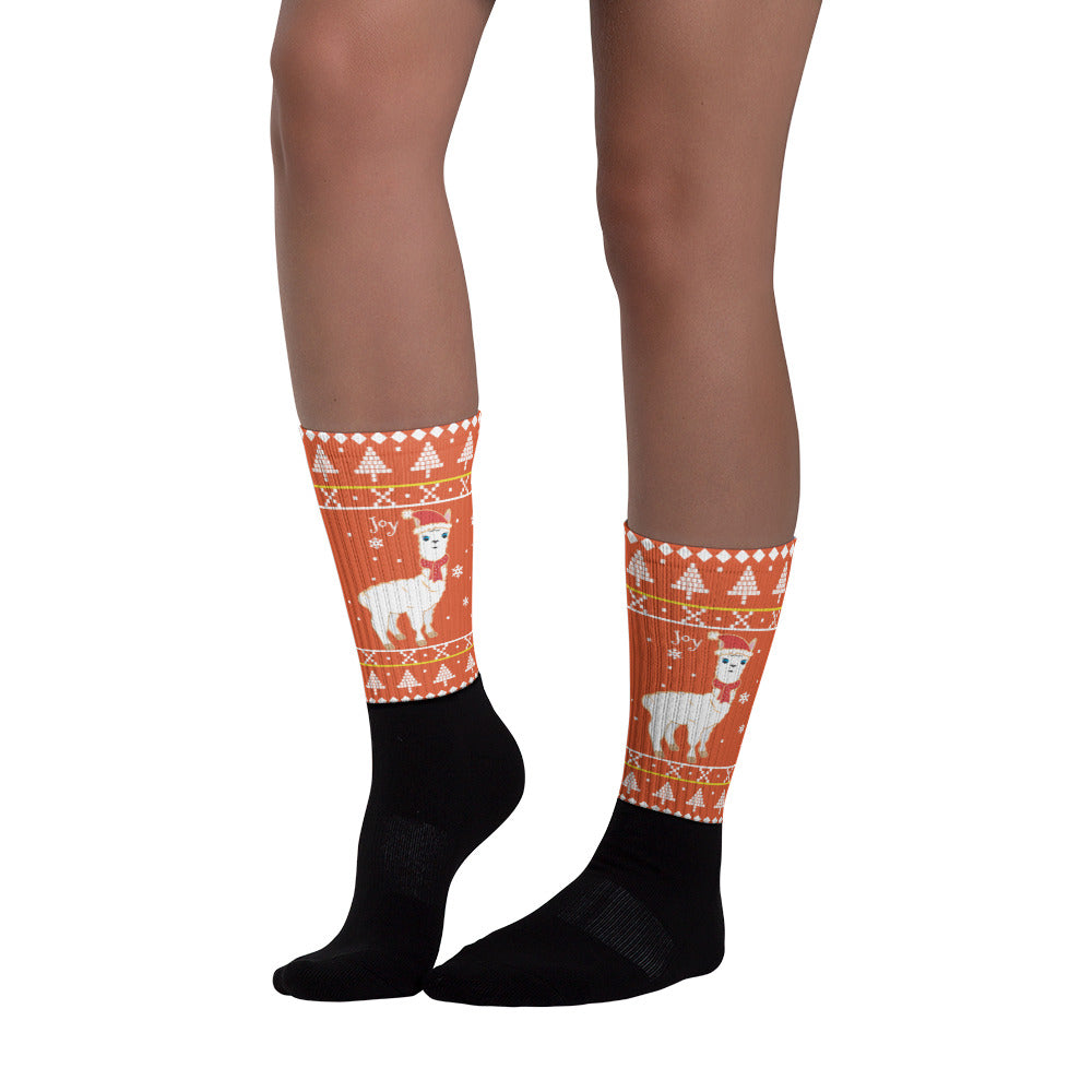 Spiced Orange Llama Socks - Joy Holiday Fashion