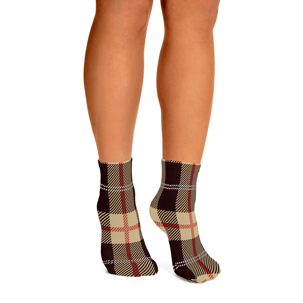 Tan and Brown Plaid Ankle Socks