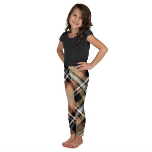 Plaid Cappuccino Youth Leggings - Joy Holiday Fashion