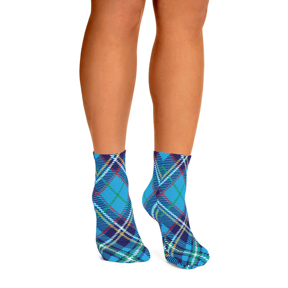 Blue and White Plaid Ankle Socks - Joy Holiday Fashion