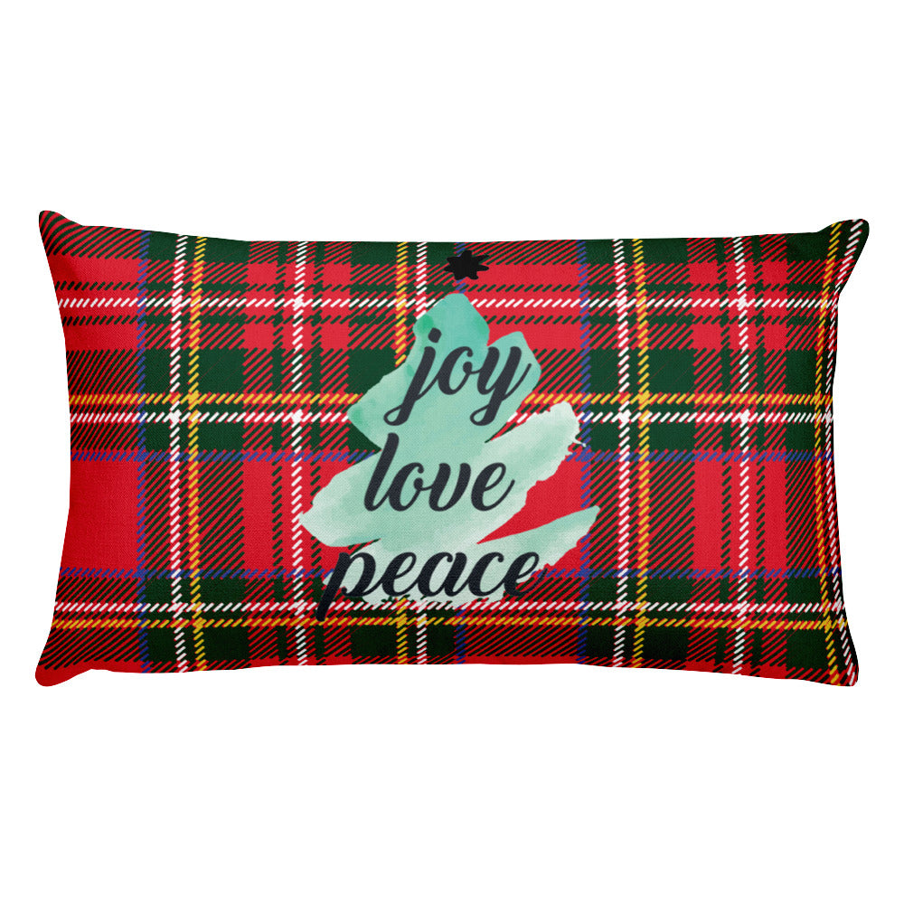 Joy Love Peace Plaid Premium Pillow