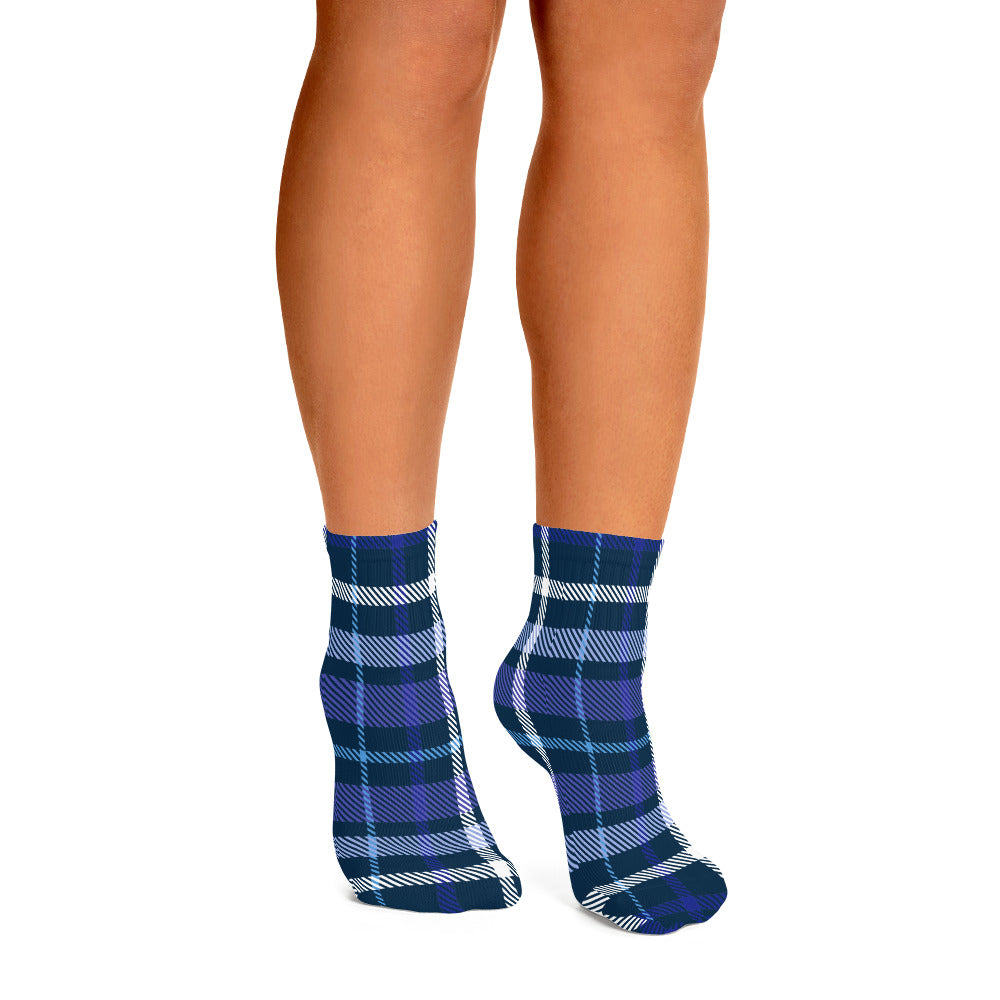 Blue and White Winter Plaid Ankle Socks - Joy Holiday Fashion