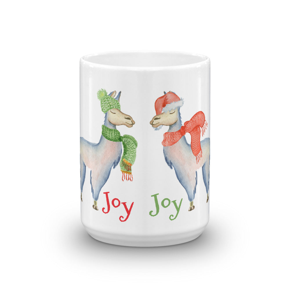More Scarf Llama Joy Mug - Joy Holiday Fashion