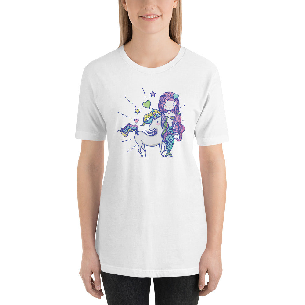 Mermaid Unicorn Love Short-Sleeve Unisex T-Shirt