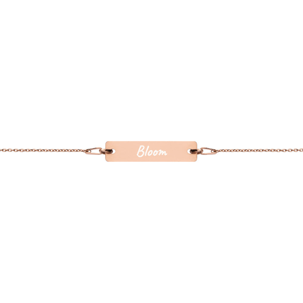 Bloom Spring Engraved Silver Bar Chain Bracelet