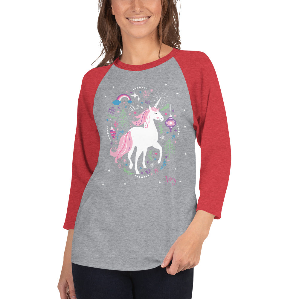 Sparkle Unicorn 3/4 sleeve raglan shirt