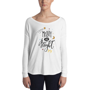Merry and Bright Ladies' Long Sleeve Tee - Joy Holiday Fashion
