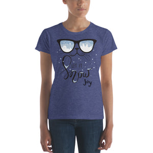 Cool Cat Let it Snow Women's T-shirt - Joy Holiday Fashion