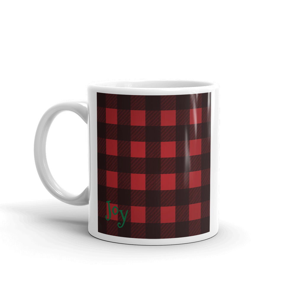 Plaid Lumberjack Joy Mug - Joy Holiday Fashion