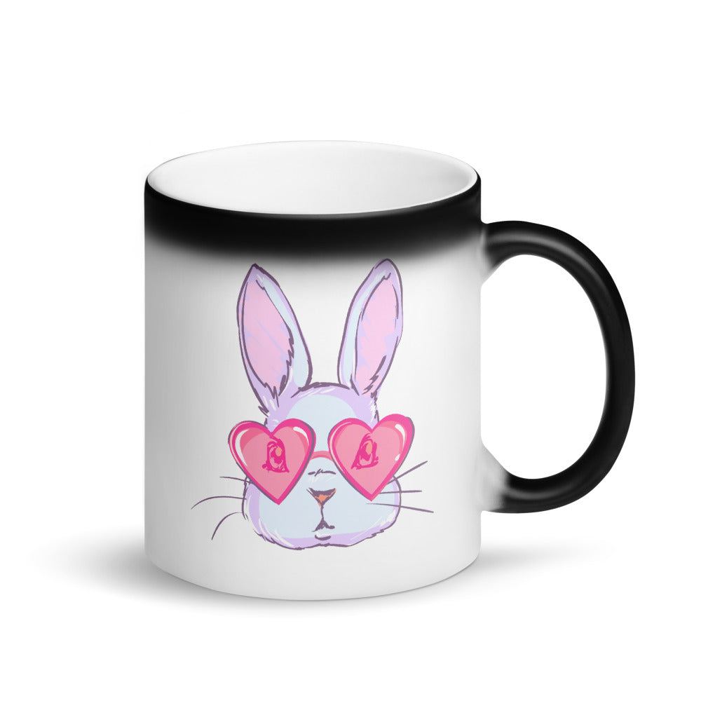 Bunny Love Matte Black Magic Mug