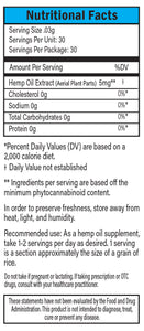 Decarboxylated Hemp Extract Blue Label Nutritional Facts