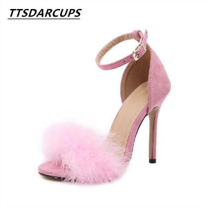 TTSDARCUPS 2017 New Women 10cm 3.94inch Fashion Real Fur Ankle Strapy High  Heel Sandals 2f85e249471d