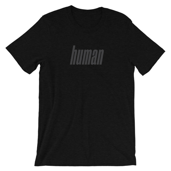 Retro Human T-Shirt (Black Heather w/ Faded Font)