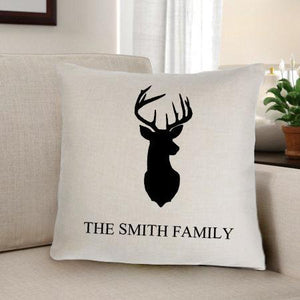 Personalized Deer Silhouette Throw Pillow