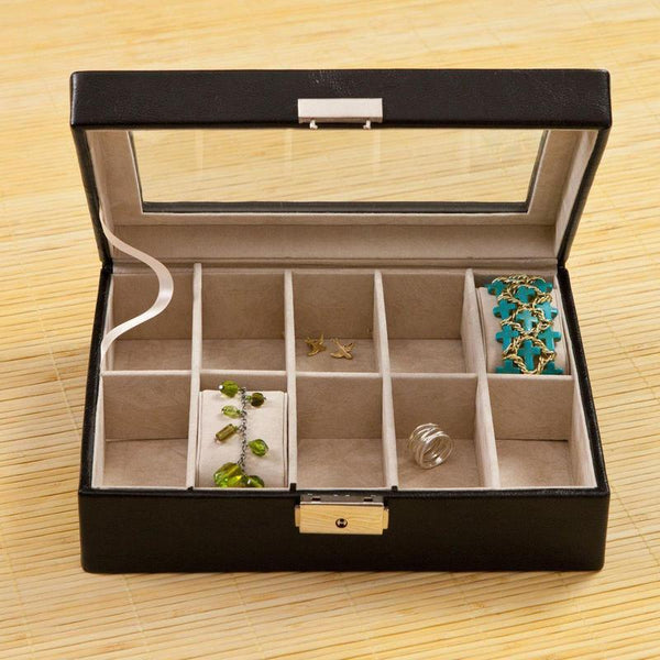 Personalized Leather Jewelry Box - Glass Lid