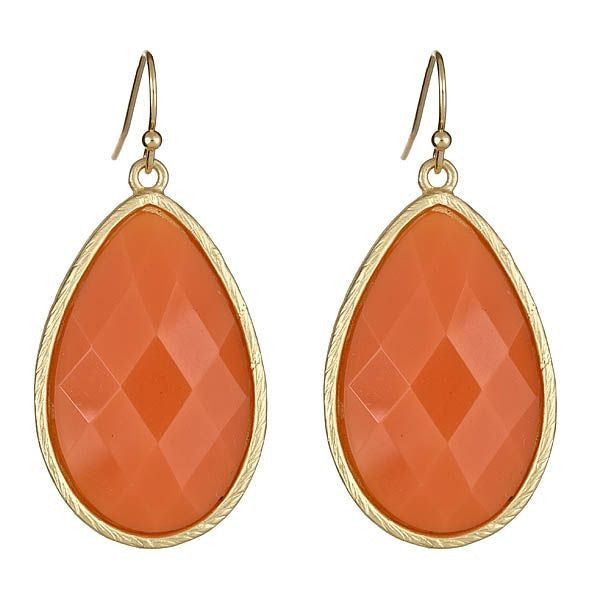 Orange Tear Drop Earrings