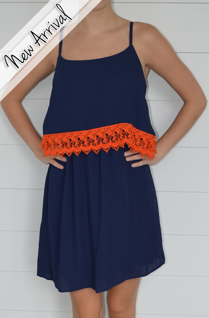 Laced up Dress in Navy