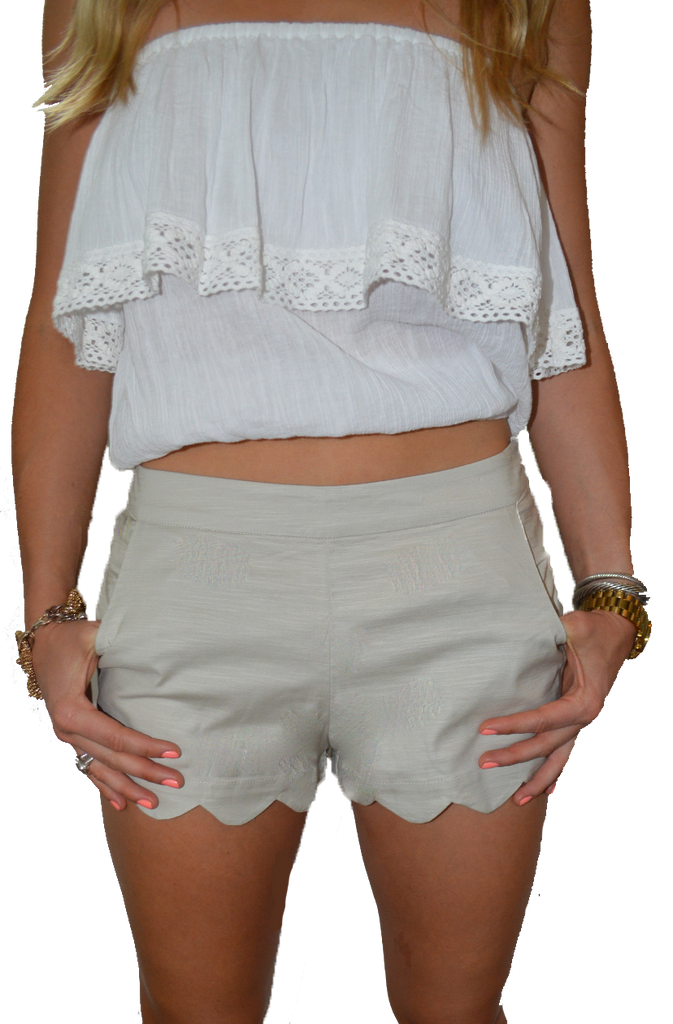 Scalloped Shorts - Khaki