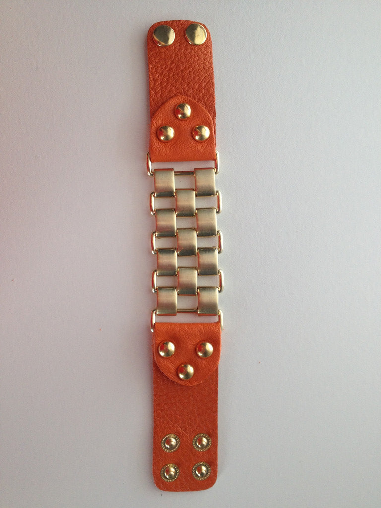 Orange Leather Link Bracelet