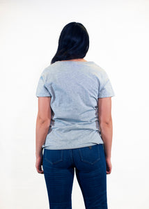 Women's Gray V-Neck Tee - Gray