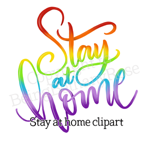 Stay at Home Lettering Clipart