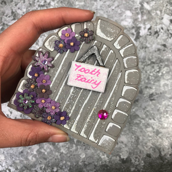 Grey Floral Tooth Fairy Door