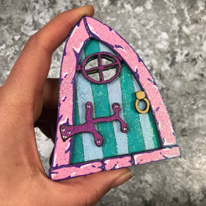 pink and blue / green sparkly fairy door