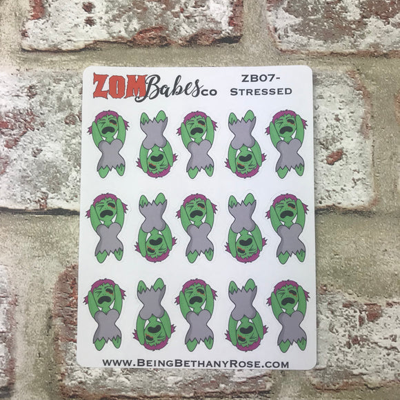Stressed out Zombabe sticker for planners (ZB07)