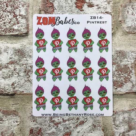 Social Media (Pintrest) Zombabe sticker for planners (ZB14)