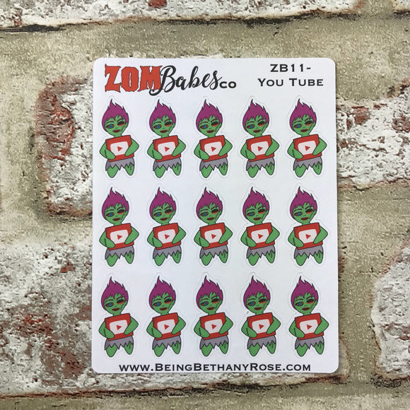 Social Media (You Tube) Zombabe sticker for planners (ZB11)