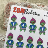 Social Media (Facebook) Zombabe sticker for planners (ZB15)