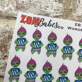 Social Media (wordpress blog) Zombabe sticker for planners (ZB12)