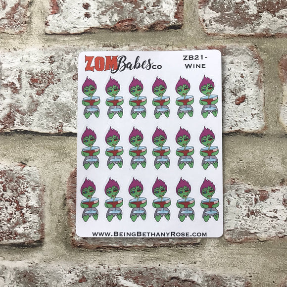Wine / Alcohol / drinking Zombabe sticker for planners (ZB21)