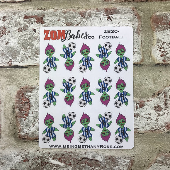 Football / Soccer Zombabe sticker for planners (ZB20)