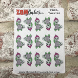 Theatre / Acting / Rehearsal Zombabe charcater stickers for planners (ZB23)