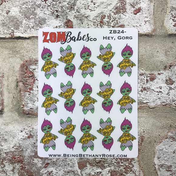 Hello Gorgeous! Zombabe character sticker for planners (ZB24)