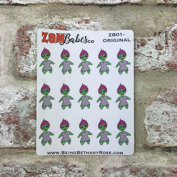 The original handrawn Zombabe sticker for planners (ZB01)
