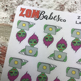 Laptop / Blogging Zombabe sticker for planners (ZB04)